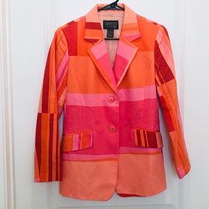 Lafayette 148 New York Orange Colorblocked Blazer